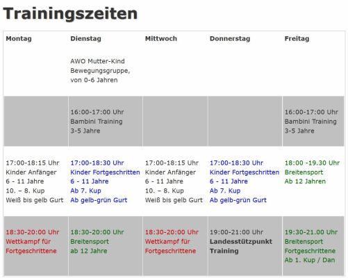 OTC-Trainingszeiten